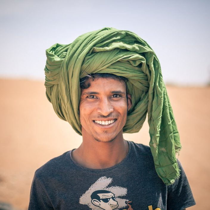 Man in the desert with turban